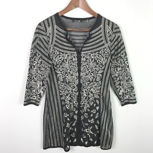 Nic + Zoe Embroidered Floral Button Tunic Top